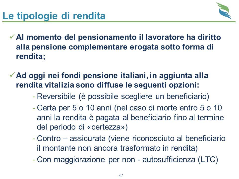 47 Le tipologie di rendita Al momento del pensionamento il lavoratore ha diritto alla pensione complementare erogata sotto forma di rendita; Ad oggi n