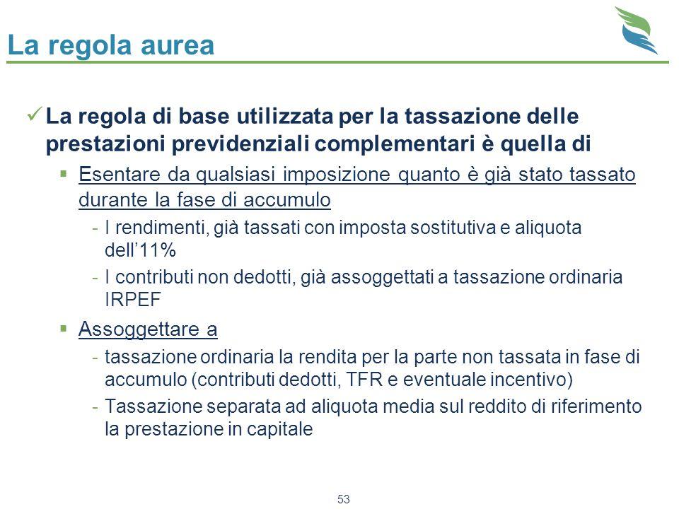 La regola aurea La regola di base utilizzata per la tassazione delle prestazioni previdenziali complementari è quella di Esentare da qualsiasi imposiz
