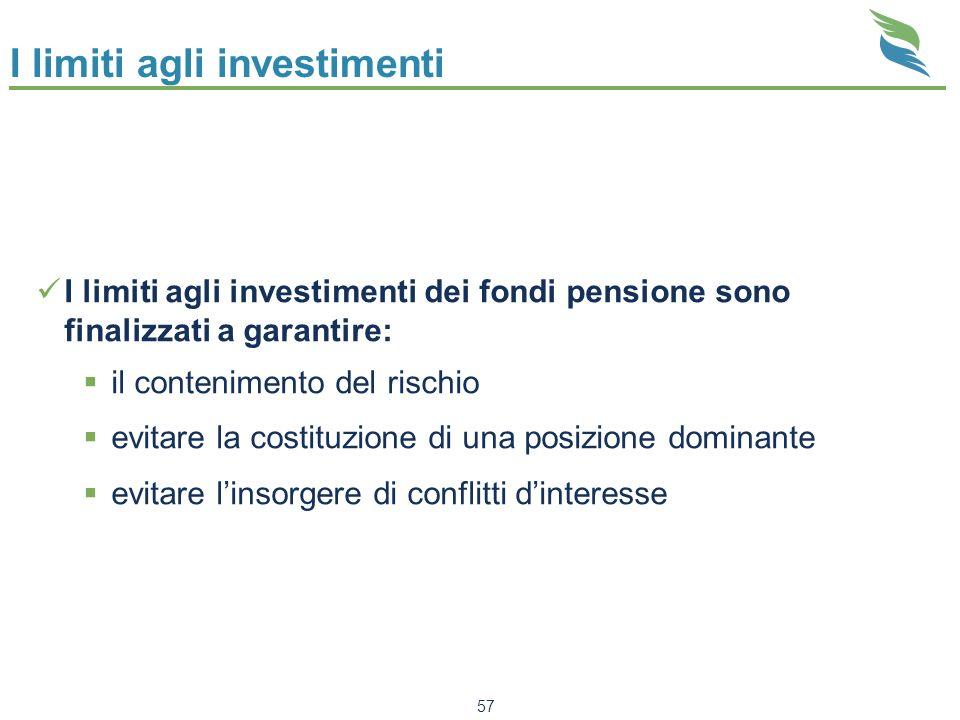 57 I limiti agli investimenti I limiti agli investimenti dei fondi pensione sono finalizzati a garantire: il contenimento del rischio evitare la costi