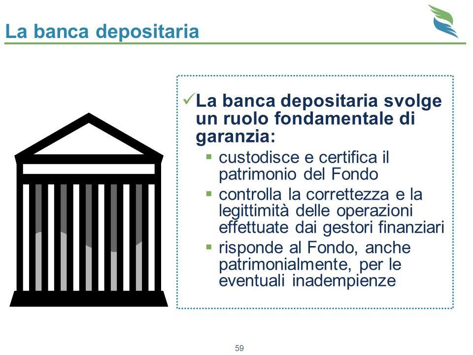 59 La banca depositaria La banca depositaria svolge un ruolo fondamentale di garanzia: custodisce e certifica il patrimonio del Fondo controlla la cor