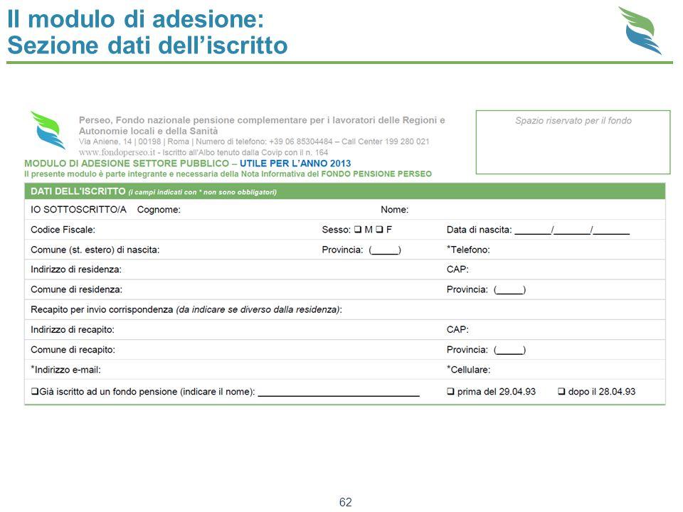 Il modulo di adesione: Sezione dati delliscritto 62