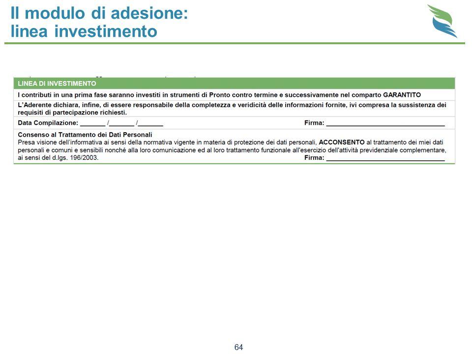 Il modulo di adesione: linea investimento 64