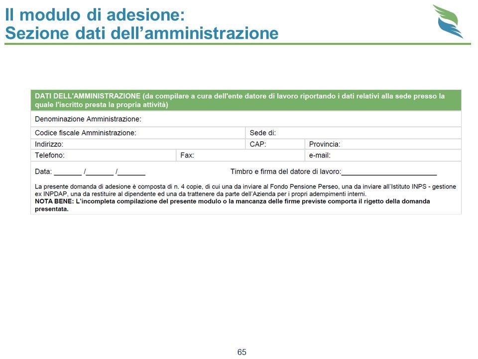 Il modulo di adesione: Sezione dati dellamministrazione 65