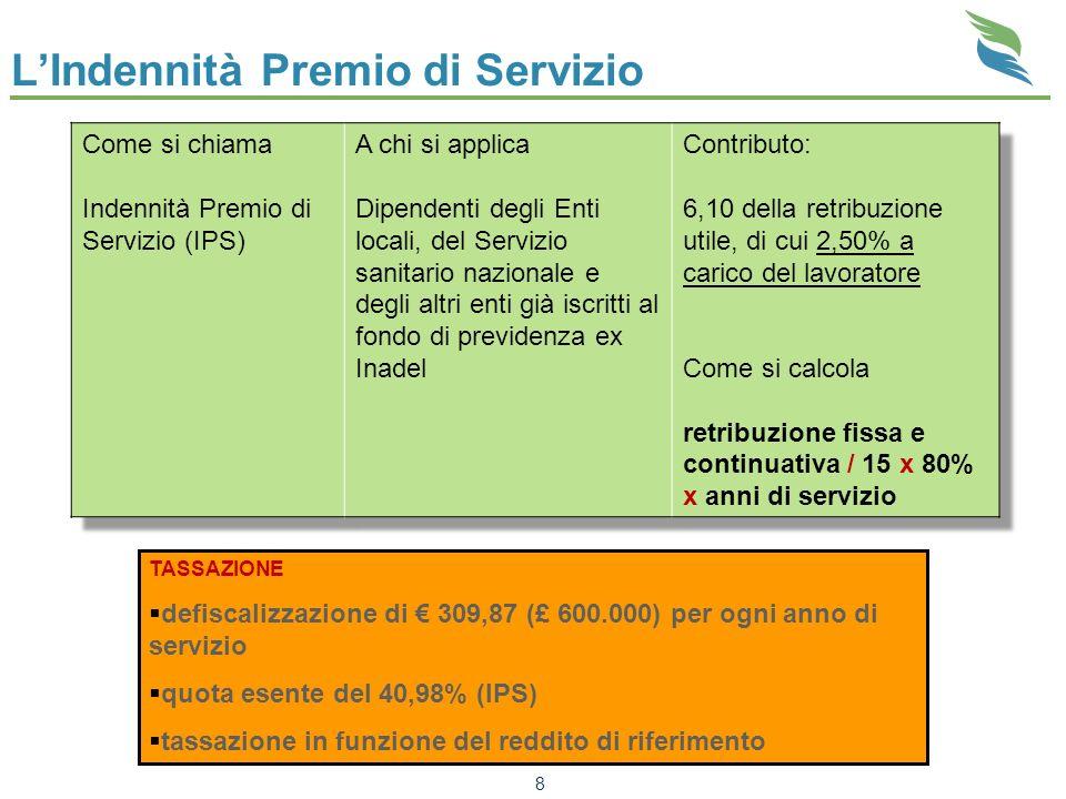 LIndennità Premio di Servizio 8 TASSAZIONE defiscalizzazione di 309,87 (£ 600.000) per ogni anno di servizio quota esente del 40,98% (IPS) tassazione