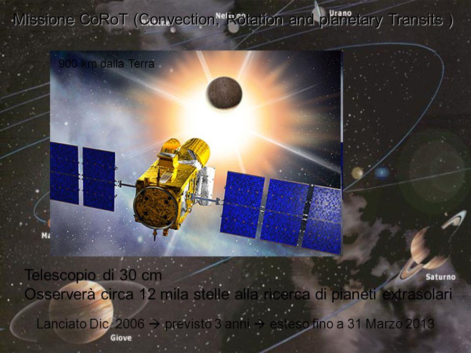 Missione CoRoT (Convection, Rotation and planetary Transits ) Telescopio di 30 cm Osserverà circa 12 mila stelle alla ricerca di pianeti extrasolari Lanciato Dic.