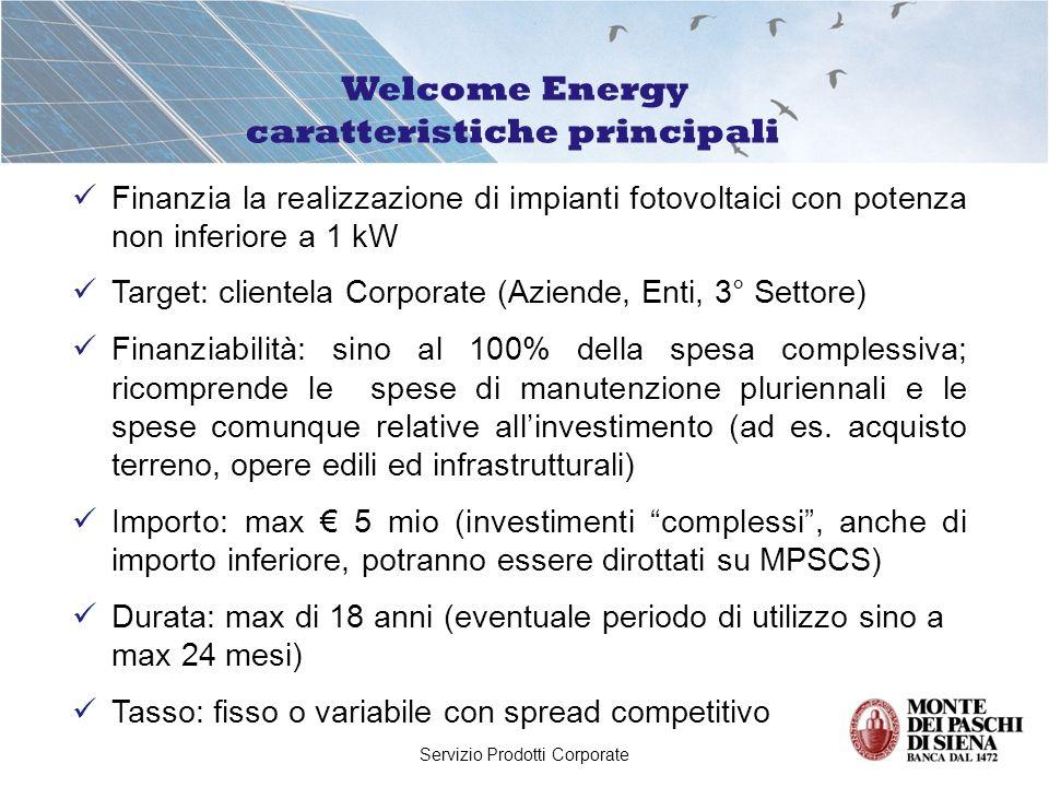 Servizio Prodotti Corporate Finanzia la realizzazione di impianti fotovoltaici con potenza non inferiore a 1 kW Target: clientela Corporate (Aziende,