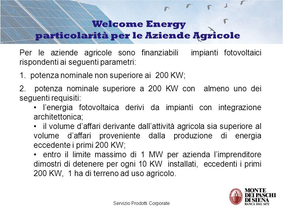 Servizio Prodotti Corporate Per le aziende agricole sono finanziabili impianti fotovoltaici rispondenti ai seguenti parametri: 1. potenza nominale non