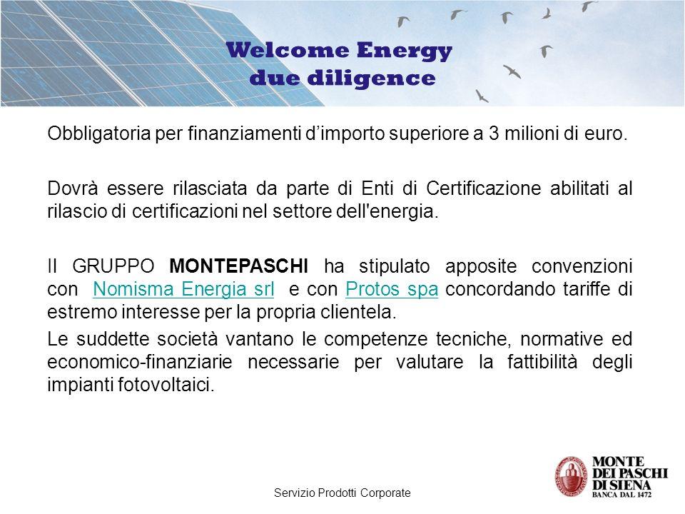 Servizio Prodotti Corporate Obbligatoria per finanziamenti dimporto superiore a 3 milioni di euro.