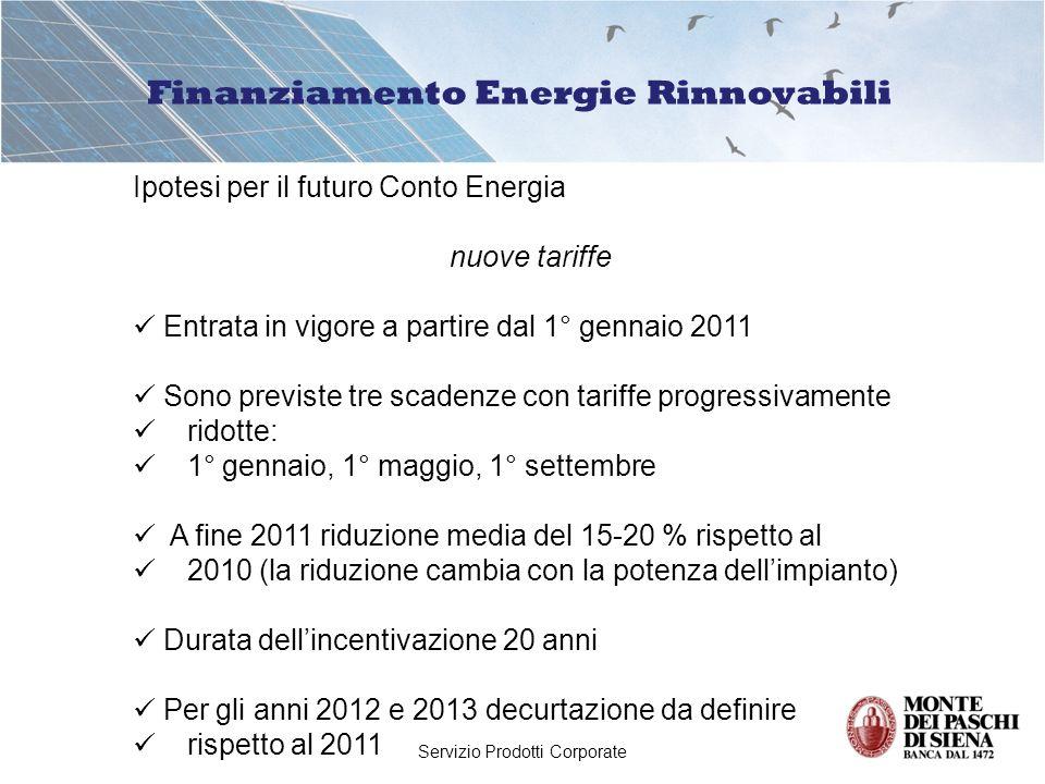 Servizio Prodotti Corporate Finanziamento Energie Rinnovabili Ipotesi per il futuro Conto Energia nuove tariffe Entrata in vigore a partire dal 1° gennaio 2011 Sono previste tre scadenze con tariffe progressivamente ridotte: 1° gennaio, 1° maggio, 1° settembre A fine 2011 riduzione media del 15-20 % rispetto al 2010 (la riduzione cambia con la potenza dellimpianto) Durata dellincentivazione 20 anni Per gli anni 2012 e 2013 decurtazione da definire rispetto al 2011