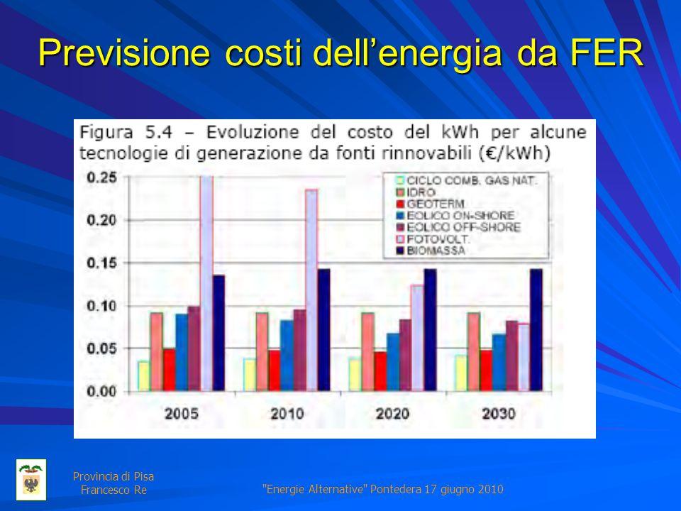 Energie Alternative Pontedera 17 giugno 2010 Provincia di Pisa Francesco Re Previsione costi dellenergia da FER