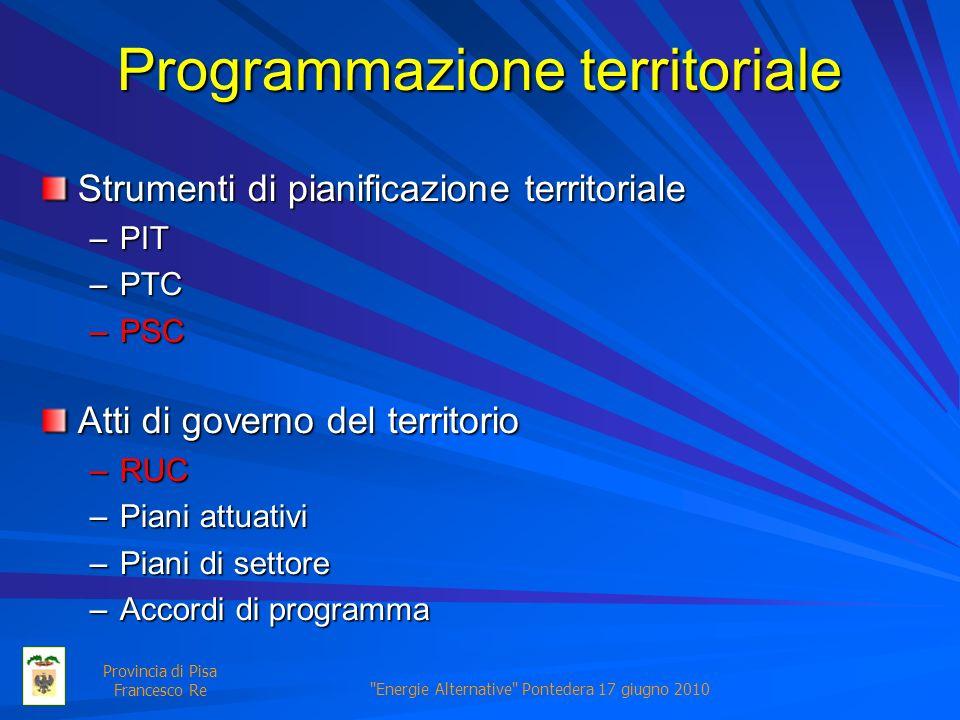 Energie Alternative Pontedera 17 giugno 2010 Provincia di Pisa Francesco Re Programmazione territoriale Strumenti di pianificazione territoriale –PIT –PTC –PSC Atti di governo del territorio –RUC –Piani attuativi –Piani di settore –Accordi di programma