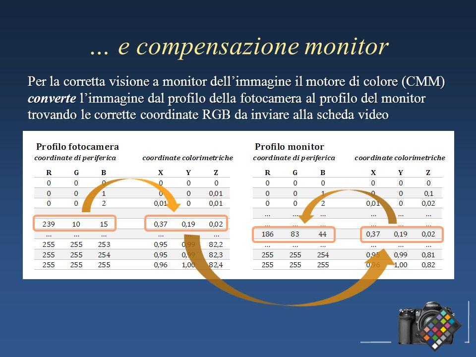 … e compensazione monitor Per la corretta visione a monitor dellimmagine il motore di colore (CMM) converte limmagine dal profilo della fotocamera al profilo del monitor trovando le corrette coordinate RGB da inviare alla scheda video