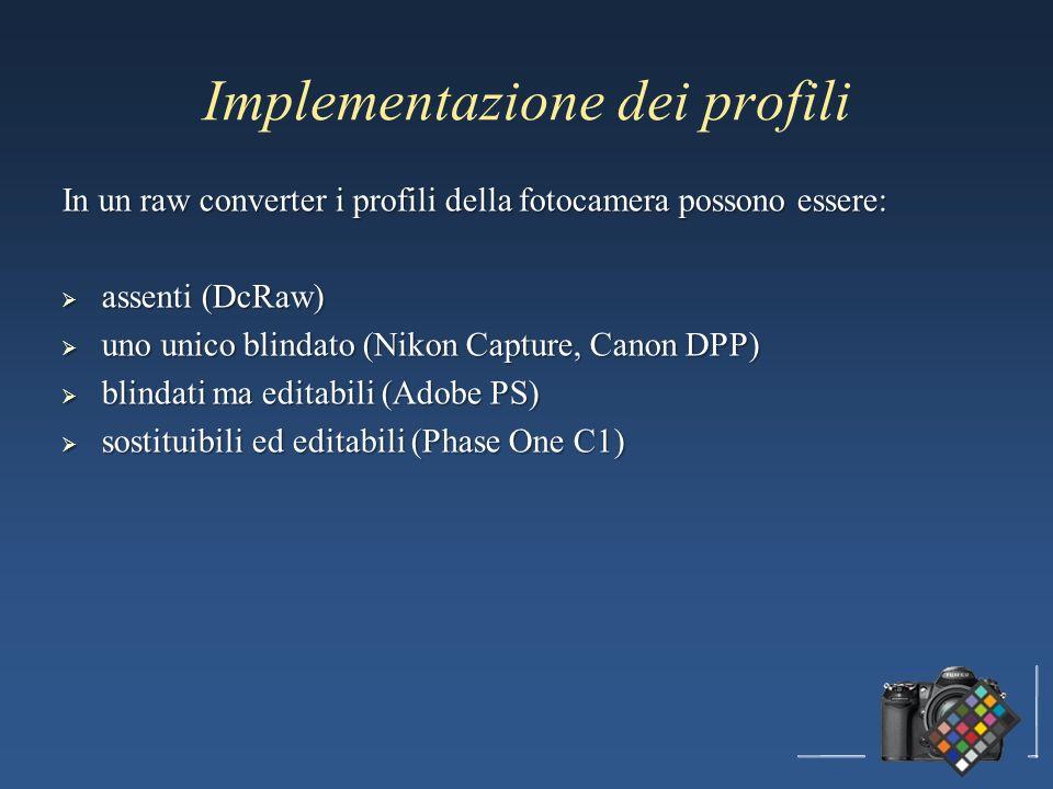 Implementazione dei profili In un raw converter i profili della fotocamera possono essere: assenti (DcRaw) assenti (DcRaw) uno unico blindato (Nikon C