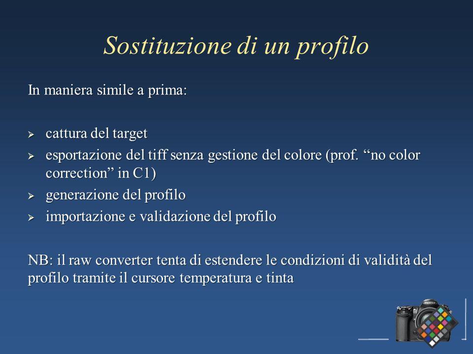 Sostituzione di un profilo In maniera simile a prima: cattura del target cattura del target esportazione del tiff senza gestione del colore (prof.