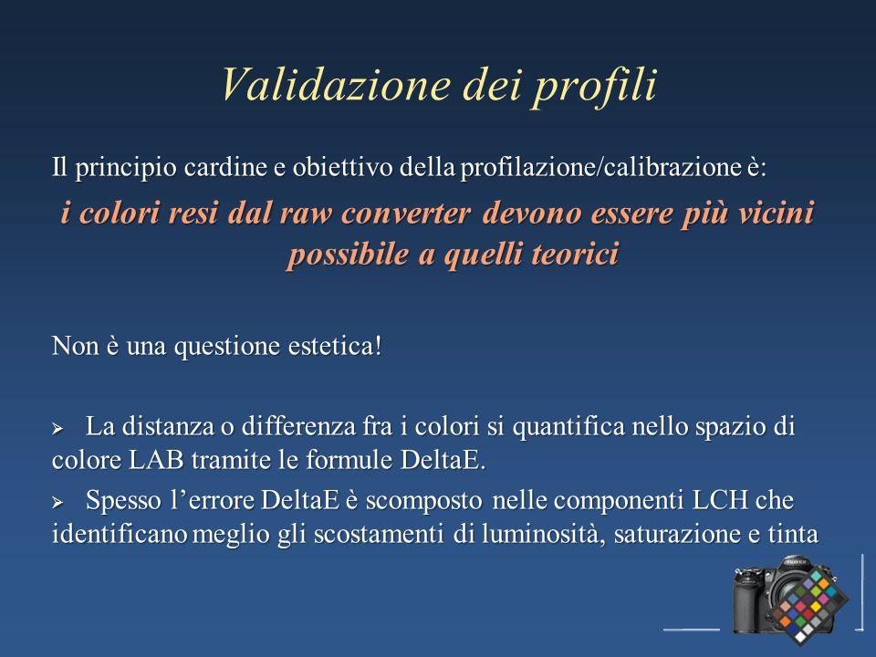 Validazione dei profili Il principio cardine e obiettivo della profilazione/calibrazione è: i colori resi dal raw converter devono essere più vicini possibile a quelli teorici Non è una questione estetica.