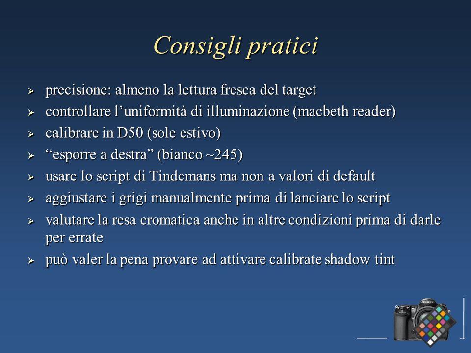 precisione: almeno la lettura fresca del target precisione: almeno la lettura fresca del target controllare luniformità di illuminazione (macbeth read