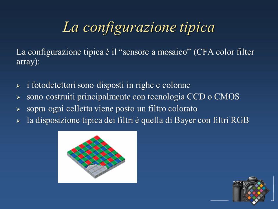 La configurazione tipica La configurazione tipica è il sensore a mosaico (CFA color filter array): i fotodetettori sono disposti in righe e colonne i fotodetettori sono disposti in righe e colonne sono costruiti principalmente con tecnologia CCD o CMOS sono costruiti principalmente con tecnologia CCD o CMOS sopra ogni celletta viene posto un filtro colorato sopra ogni celletta viene posto un filtro colorato la disposizione tipica dei filtri è quella di Bayer con filtri RGB la disposizione tipica dei filtri è quella di Bayer con filtri RGB