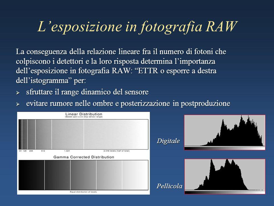 Lesposizione in fotografia RAW La conseguenza della relazione lineare fra il numero di fotoni che colpiscono i detettori e la loro risposta determina