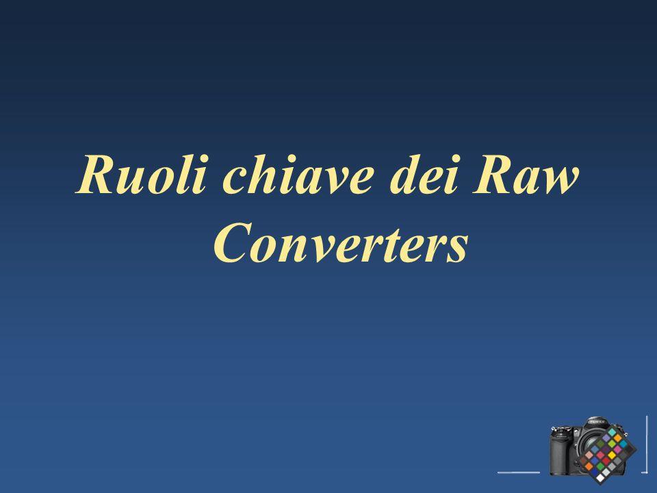 Tutti i raw converters svolgono le operazioni che seguono ma … con differenti algoritmi con differenti algoritmi con differenti filosofie con differenti filosofie I risultati possono essere anche molto differenti soprattutto allapertura del file