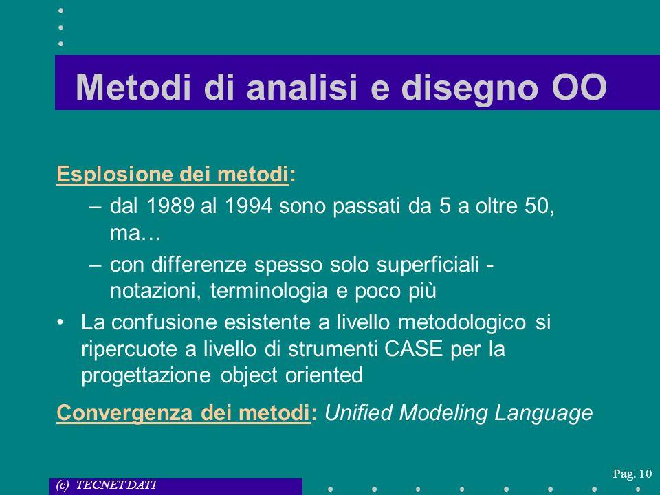 (c) TECNET DATI Pag. 10 Metodi di analisi e disegno OO Esplosione dei metodi: –dal 1989 al 1994 sono passati da 5 a oltre 50, ma… –con differenze spes