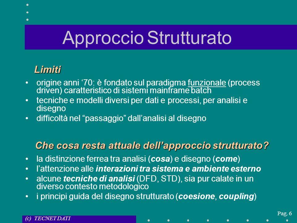 (c) TECNET DATI Pag. 6 Approccio Strutturato Limiti origine anni 70: è fondato sul paradigma funzionale (process driven) caratteristico di sistemi mai