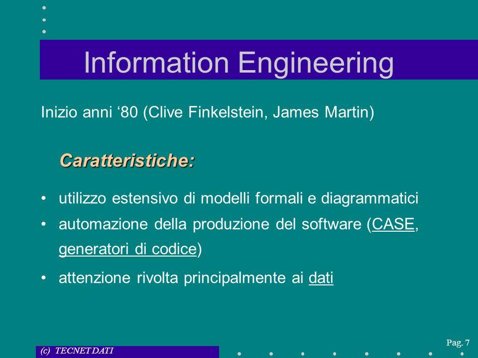 (c) TECNET DATI Pag. 7 Information Engineering Inizio anni 80 (Clive Finkelstein, James Martin)Caratteristiche: utilizzo estensivo di modelli formali