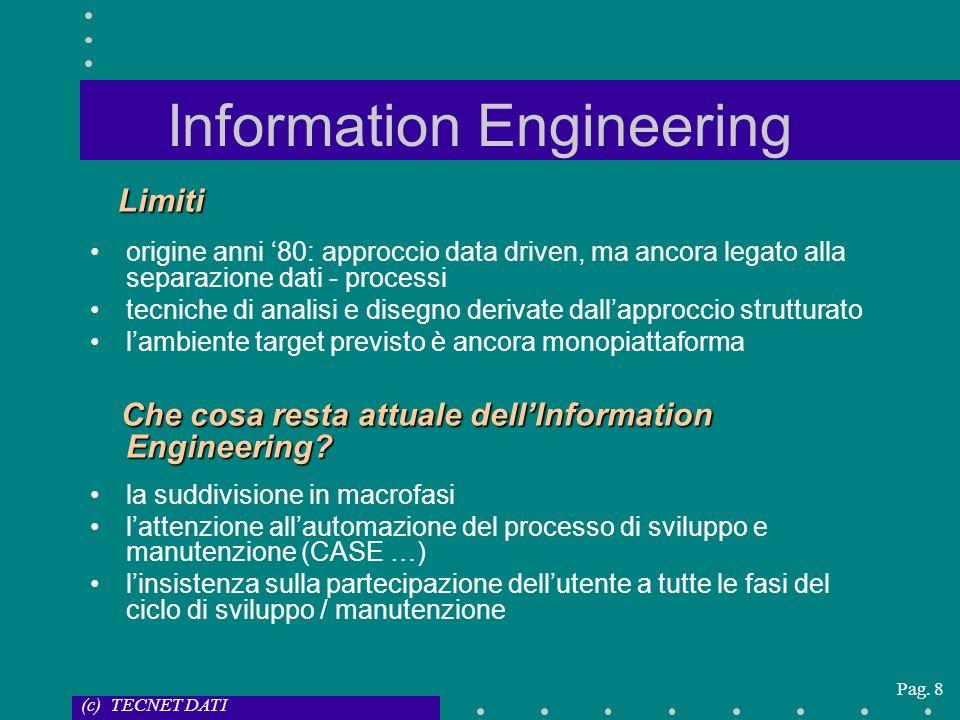 (c) TECNET DATI Pag. 8 Information Engineering Limiti origine anni 80: approccio data driven, ma ancora legato alla separazione dati - processi tecnic