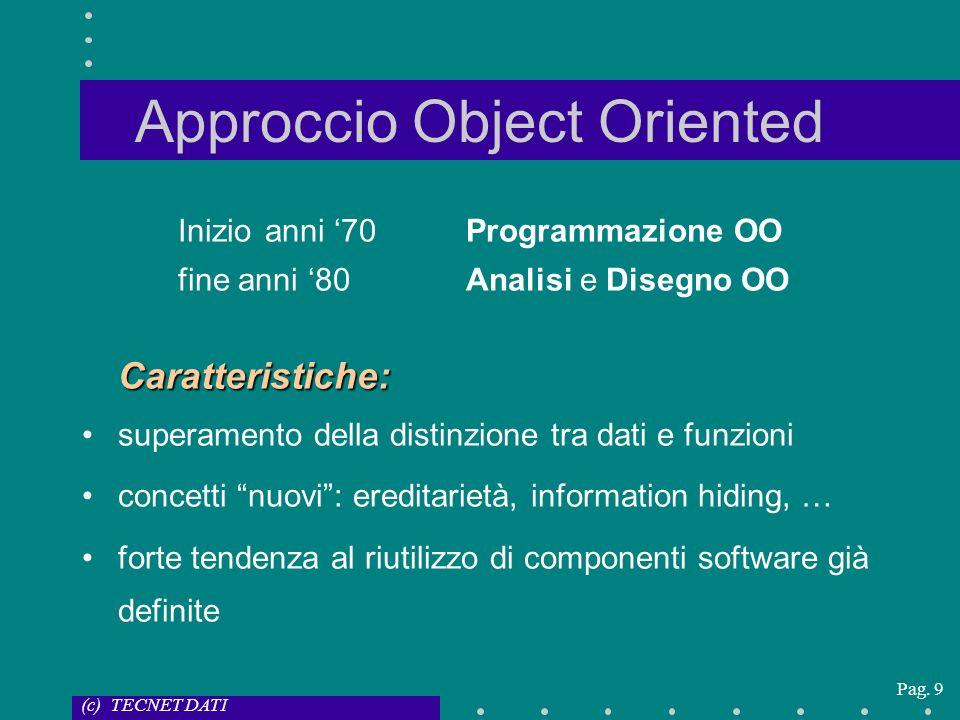 (c) TECNET DATI Pag. 9 Approccio Object Oriented Inizio anni 70Programmazione OO fine anni 80Analisi e Disegno OOCaratteristiche: superamento della di