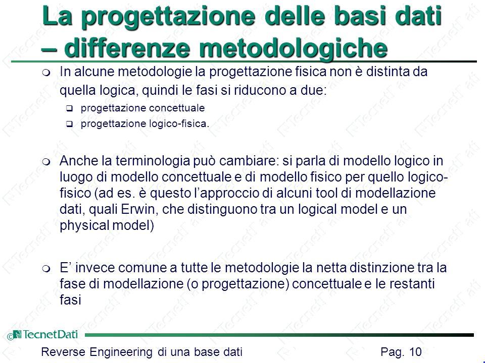 Reverse Engineering di una base dati Pag. 10 © La progettazione delle basi dati – differenze metodologiche m In alcune metodologie la progettazione fi