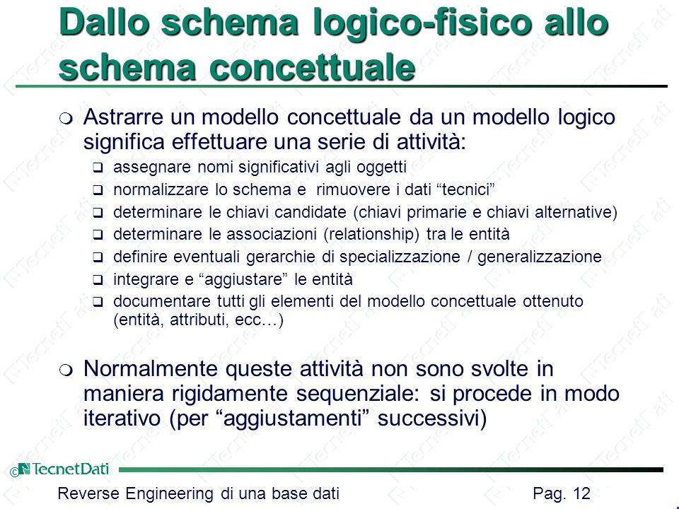 Reverse Engineering di una base dati Pag. 12 © Dallo schema logico-fisico allo schema concettuale m Astrarre un modello concettuale da un modello logi