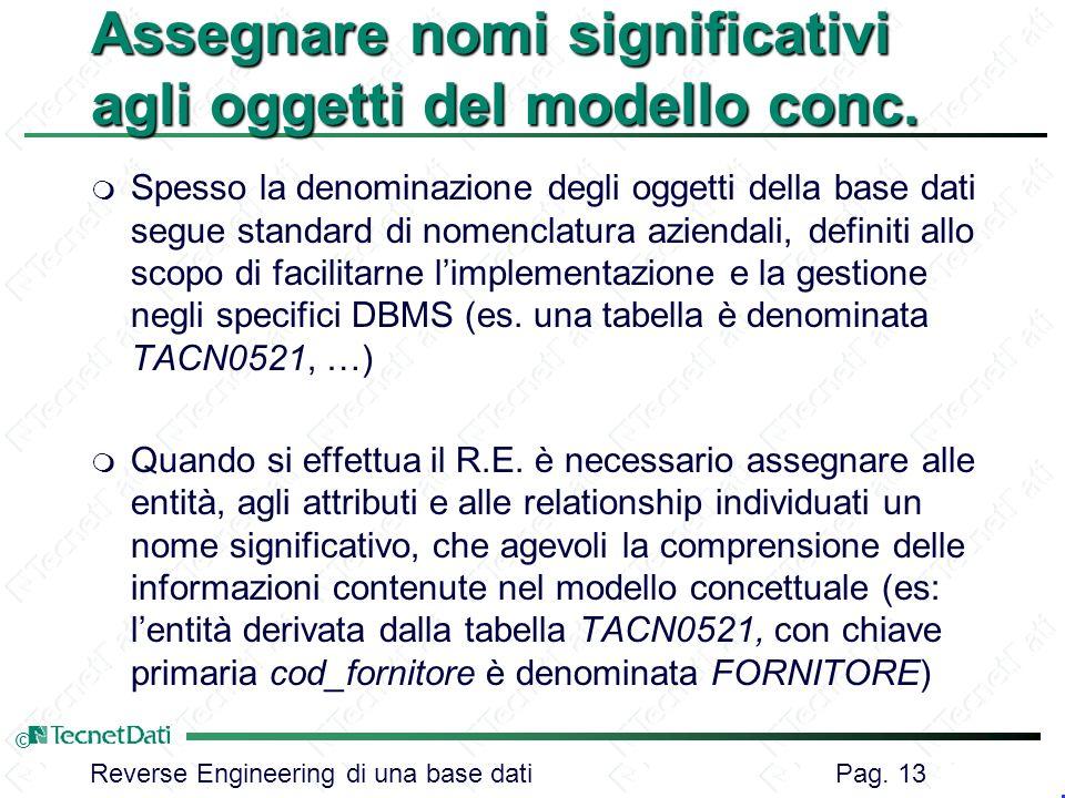 Reverse Engineering di una base dati Pag. 13 © Assegnare nomi significativi agli oggetti del modello conc. m Spesso la denominazione degli oggetti del