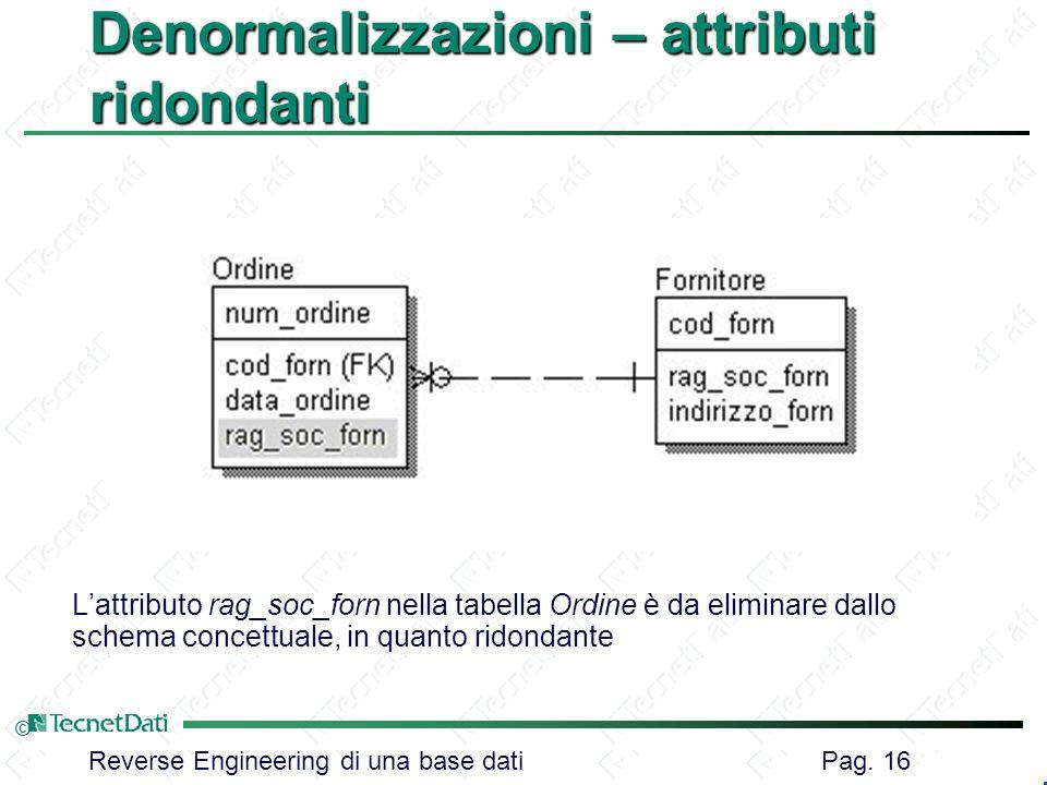 Reverse Engineering di una base dati Pag. 16 © Denormalizzazioni – attributi ridondanti Lattributo rag_soc_forn nella tabella Ordine è da eliminare da
