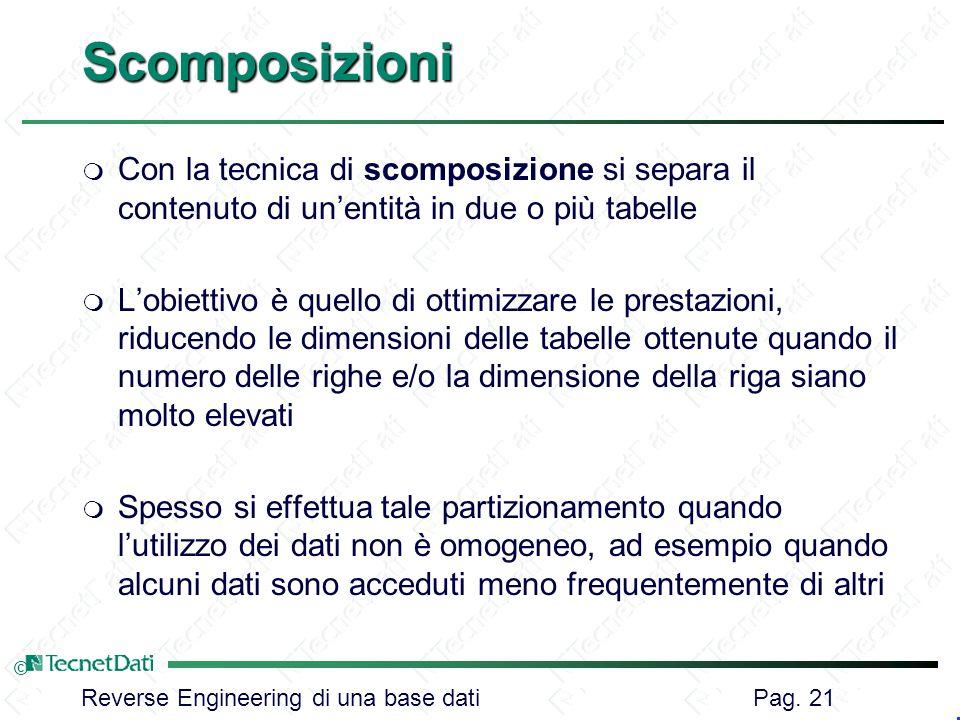 Reverse Engineering di una base dati Pag. 21 ©Scomposizioni m Con la tecnica di scomposizione si separa il contenuto di unentità in due o più tabelle