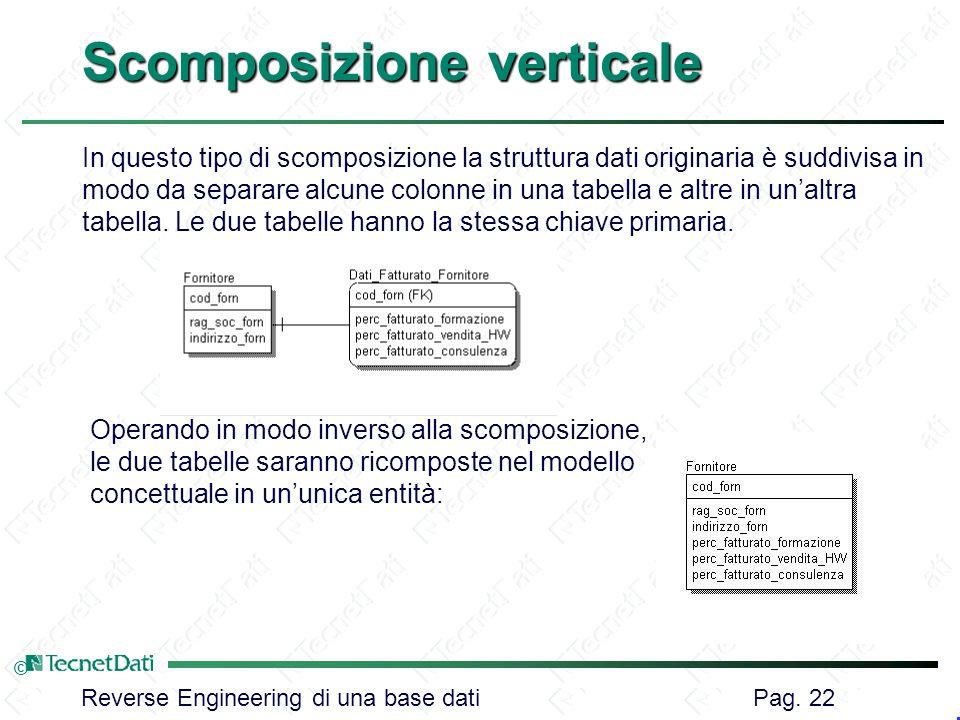 Reverse Engineering di una base dati Pag. 22 © Scomposizione verticale Operando in modo inverso alla scomposizione, le due tabelle saranno ricomposte