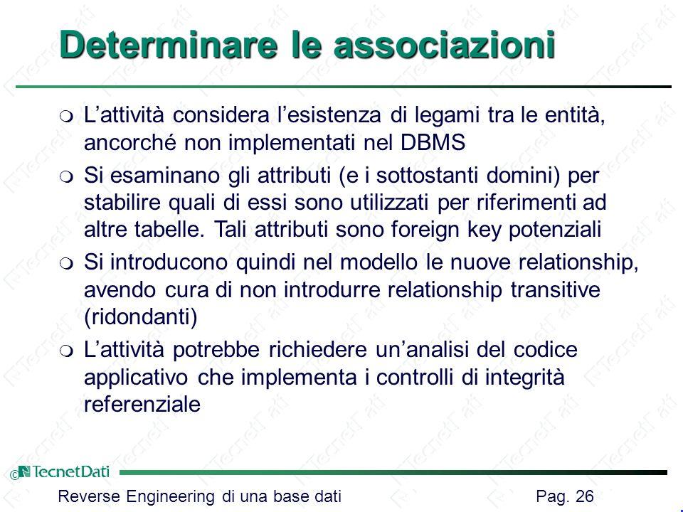 Reverse Engineering di una base dati Pag. 26 © Determinare le associazioni m Lattività considera lesistenza di legami tra le entità, ancorché non impl