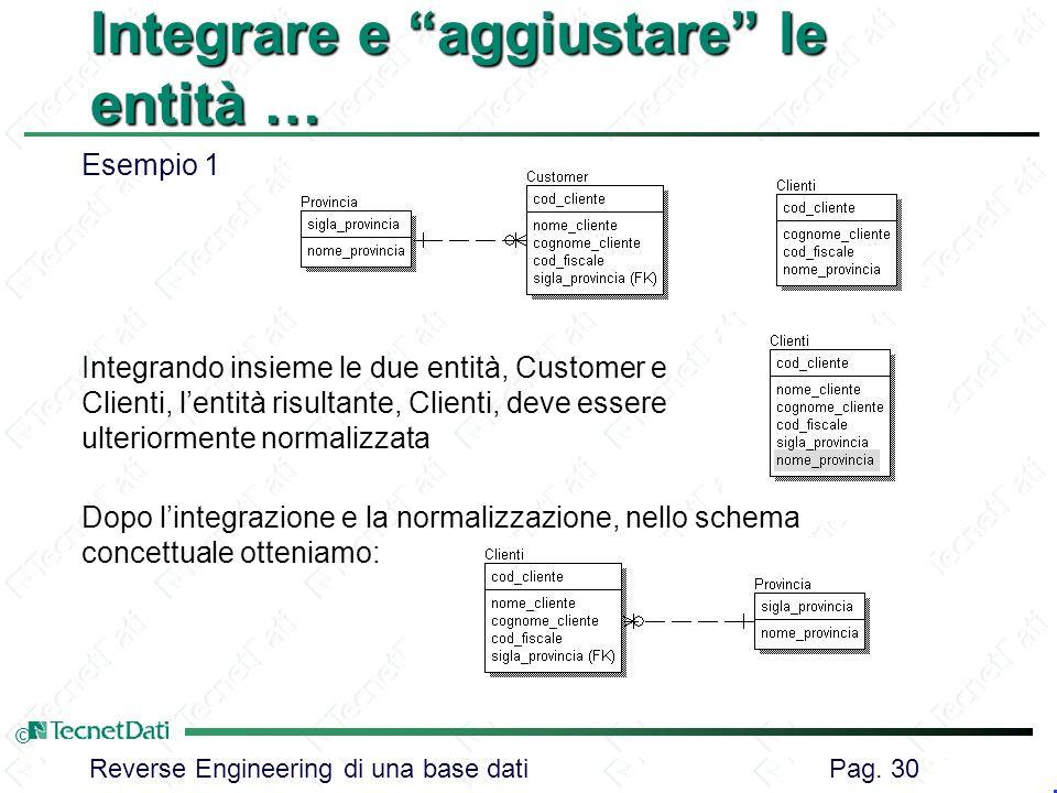 Reverse Engineering di una base dati Pag. 30 © Integrare e aggiustare le entità … Esempio 1 Integrando insieme le due entità, Customer e Clienti, lent