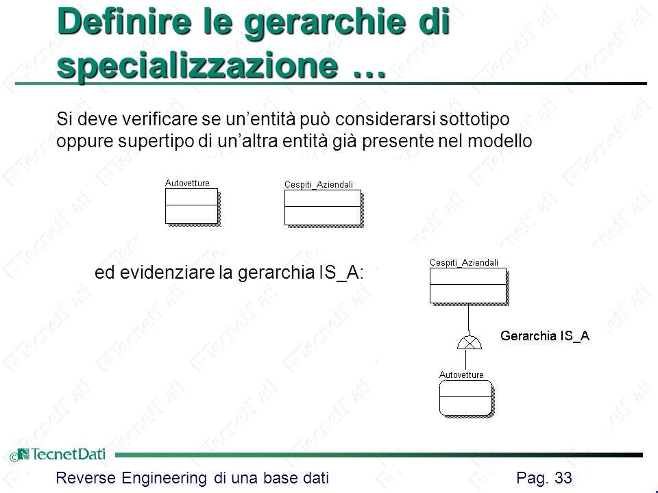 Reverse Engineering di una base dati Pag. 33 © Definire le gerarchie di specializzazione … Si deve verificare se unentità può considerarsi sottotipo o