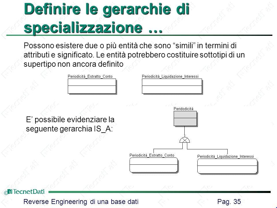 Reverse Engineering di una base dati Pag. 35 © Definire le gerarchie di specializzazione … Possono esistere due o più entità che sono simili in termin