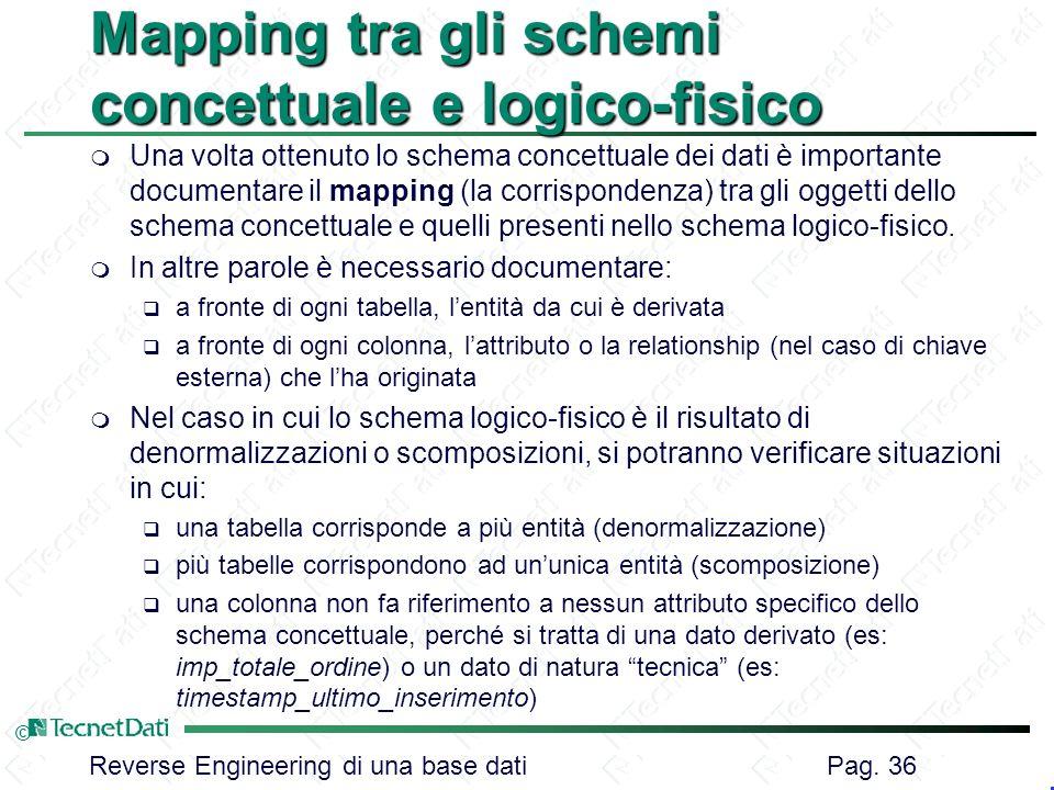 Reverse Engineering di una base dati Pag. 36 © Mapping tra gli schemi concettuale e logico-fisico m Una volta ottenuto lo schema concettuale dei dati
