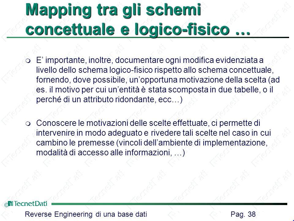 Reverse Engineering di una base dati Pag. 38 © Mapping tra gli schemi concettuale e logico-fisico … m E importante, inoltre, documentare ogni modifica