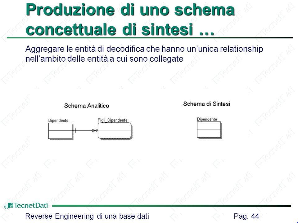 Reverse Engineering di una base dati Pag. 44 © Produzione di uno schema concettuale di sintesi … Aggregare le entità di decodifica che hanno ununica r