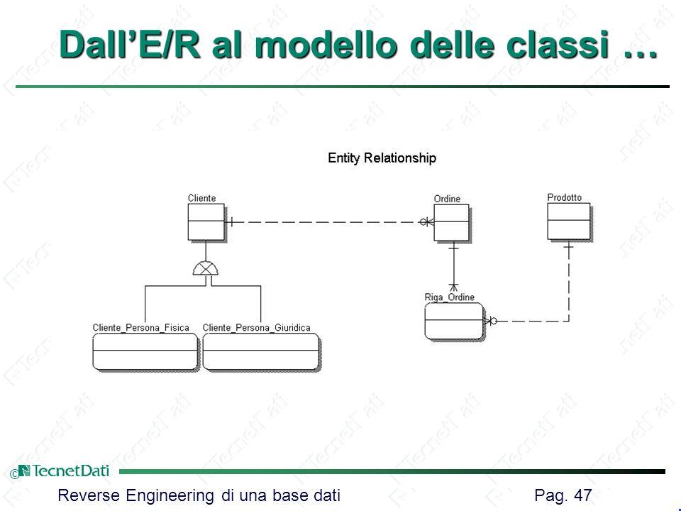 Reverse Engineering di una base dati Pag. 47 © DallE/R al modello delle classi …
