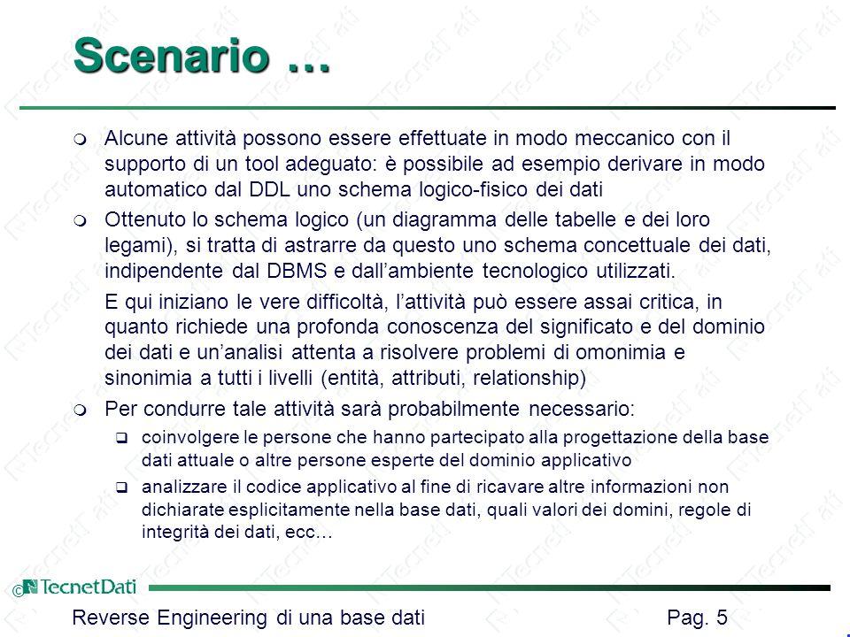 Reverse Engineering di una base dati Pag. 5 © Scenario … m Alcune attività possono essere effettuate in modo meccanico con il supporto di un tool adeg