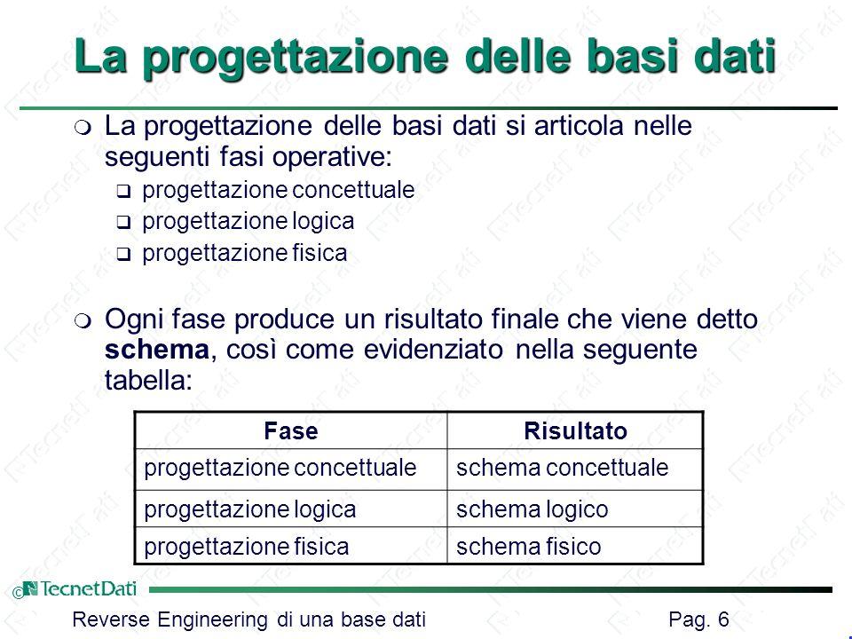 Reverse Engineering di una base dati Pag. 6 © La progettazione delle basi dati m La progettazione delle basi dati si articola nelle seguenti fasi oper