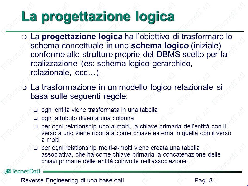 Reverse Engineering di una base dati Pag. 8 © La progettazione logica m La progettazione logica ha lobiettivo di trasformare lo schema concettuale in