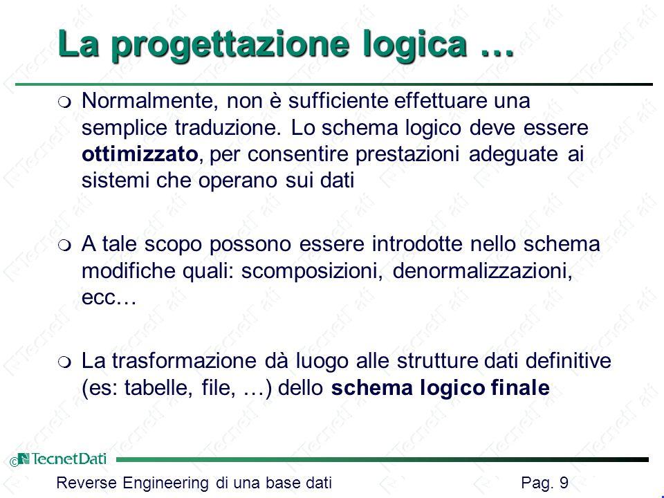 Reverse Engineering di una base dati Pag. 9 © La progettazione logica … m Normalmente, non è sufficiente effettuare una semplice traduzione. Lo schema