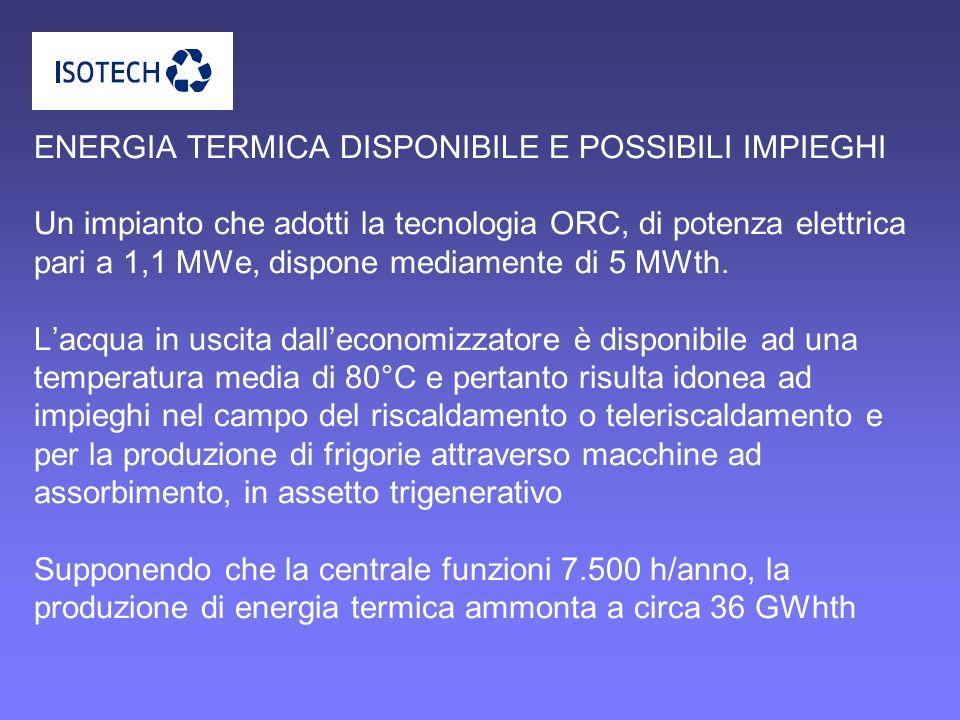 ENERGIA TERMICA DISPONIBILE E POSSIBILI IMPIEGHI Un impianto che adotti la tecnologia ORC, di potenza elettrica pari a 1,1 MWe, dispone mediamente di