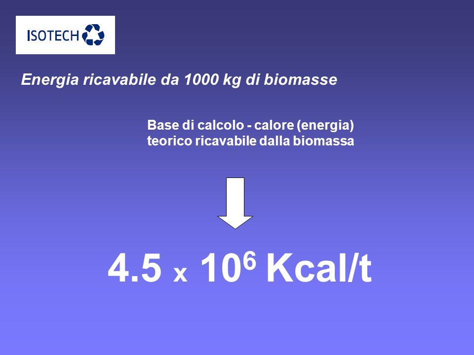 Energia ricavabile da 1000 kg di biomasse Base di calcolo - calore (energia) teorico ricavabile dalla biomassa 4.5 x 10 6 Kcal/t