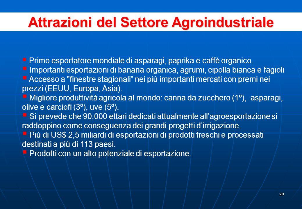 19 Pesca e Acquicoltura Primo produttore ed esportatore mondiale di farina e olio di pesce.