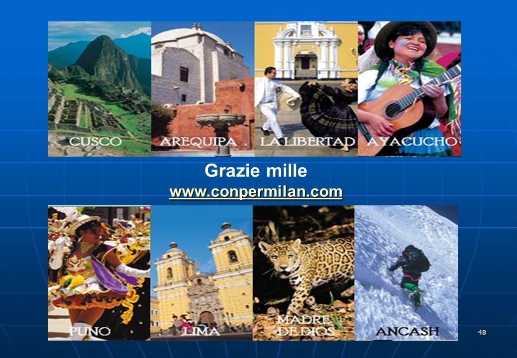 47 Turismo: Arrivo di stranieri in Perù in aumento Fonte: Mincetur, dati a settembre 2009. (Migliaia di persone)